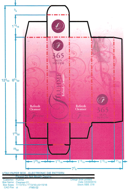 A package design for a cosmetic skin refresher creme produced by Flume Cosmetics.