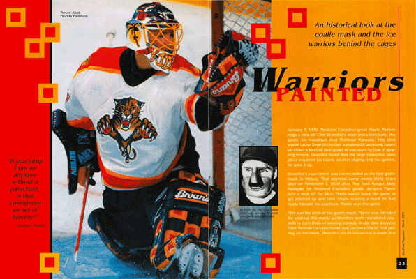 A two page magazine spread about the history of the National Hockey League goalie mask.