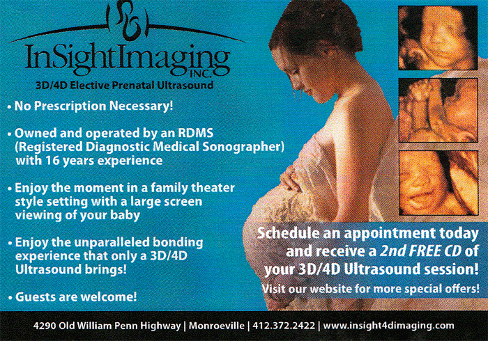 Postcard design for InSight Imaging 3D ultrasound in Monroeville, PA.