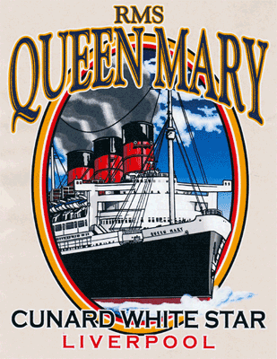 T-shirt design for the Cunard White Star cruise ship lines in Valencia, CA.