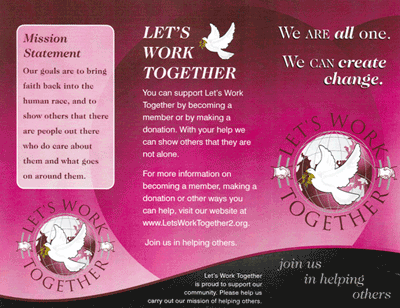 A flyer for Let's Work Together.