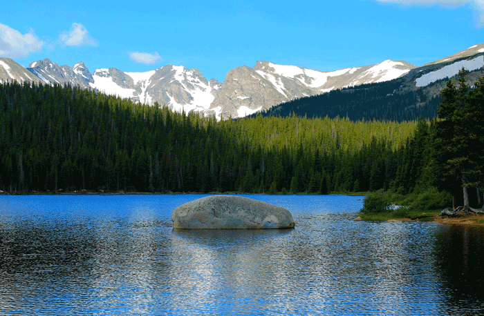 Brainard Lake Naitonal Recreation Area in Ward, Colorado, with Rocky Mountain National Park in the background.