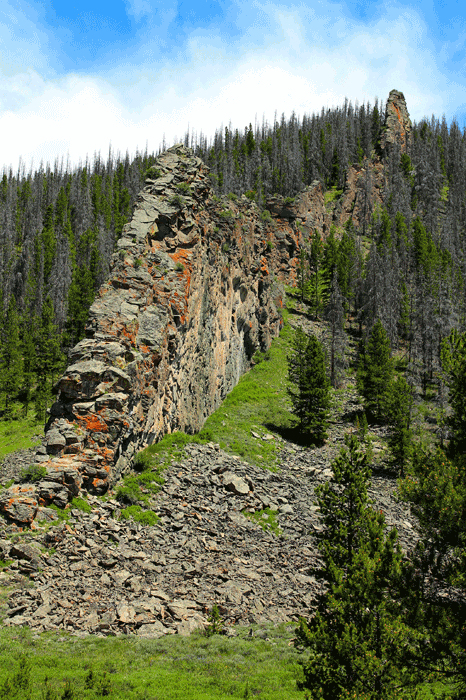 An odd wall-like rock formation outside of Rocky Mountain National Park, Granby, Colorado.