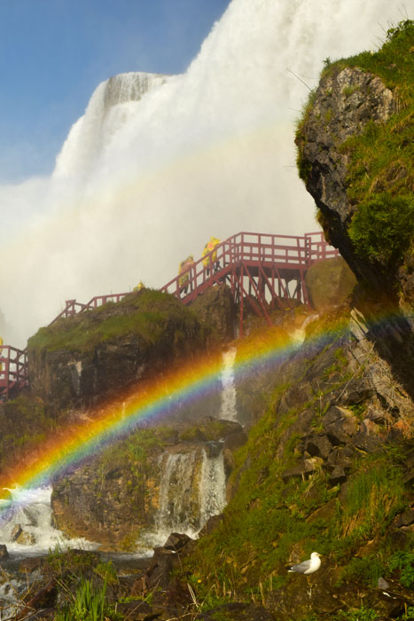 Niagara Falls has a viewing platform at the bottom of the American falls. Rainbows are a common sight.
