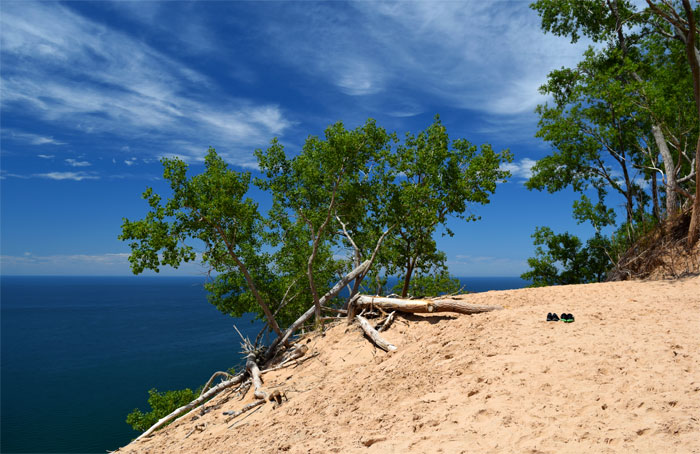 Sleeping Bear Dunes National Lakeshore in Michigan. The dunes are 2,000 feet high.