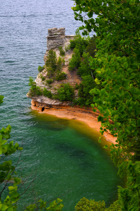 Pictured Rocks National Seashore in the Upper Peninsula of Michigan, along Lake Superior shoreline.